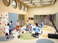 Rendering of a main activity room at The Center for Autism and the Developing Brain
