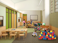 Rendering of a group activity room at The Center for Autism and the Developing Brain